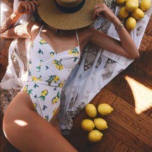 Onia x WeWoreWhat Danielle lemon print swimsuit